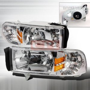 Dodge 1994-2001 Dodge Ram Pick Up 1Pc Headlights/ Head Lamps-Euro Style Performance 1994,1995,1996,1997,1998,1999,2000,2001