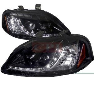 Honda 99-00 Civic R8 Style Smoked Lens Gloss Black Housing Projector Headlights Performance 1 Set Rh & Lh 1999,2000