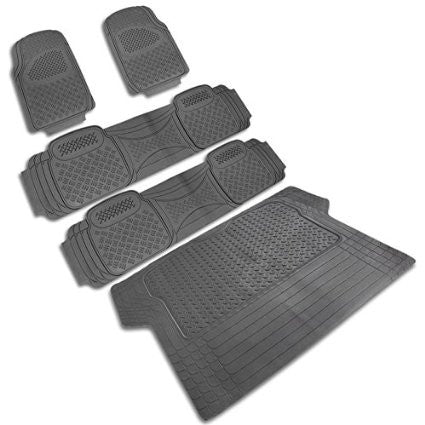 UNIVERSAL ALL UNIVERSAL ALL PVC FLOOR MAT 4 PIECES SET GREY + TRUNK PIECE