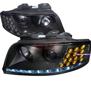 Audi 02-05 A6 Black Housing Projector Headlight With Led Performance 1 Set Rh & Lh 2002,2003,2004,2005