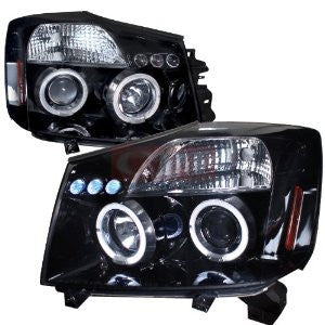 Nissan Titan Halo Projector Headlight Gloss Black Housing Smoke Lens