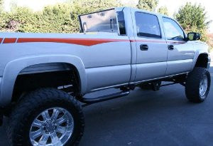 Chevrolet Heavy Duty 00-10 Chevrolet Hd Crew Cab Short Bed Third Step Sidebar Nerf Bars & Tube Side Step Bars Stainless
