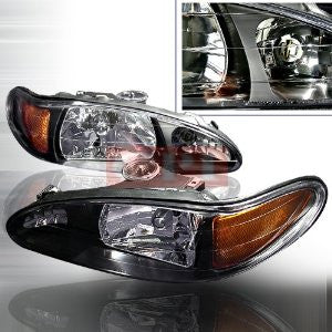FORD 1997-2002 FORD ESCORT HEADLIGHTS/ HEAD LAMPS JDM BLACK-EURO STYLE PERFORMANCE 1997,1998,1999,2000,2001,2002