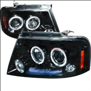 Ford F150 Halo Projector Headlight Gloss Black Housing Smoke Lens
