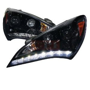 Hyundai 10-12 Hyundai Genesis Led Projector Headlight Gloss Black Housing Smoke Lens