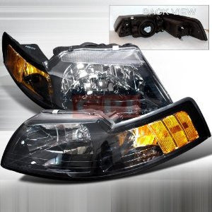 Ford 1999-2004 Ford Mustang 1Pc Headlights/ Head Lamps- Black-Euro Style Performance 1999,2000,2001,2002,2003,2004-c