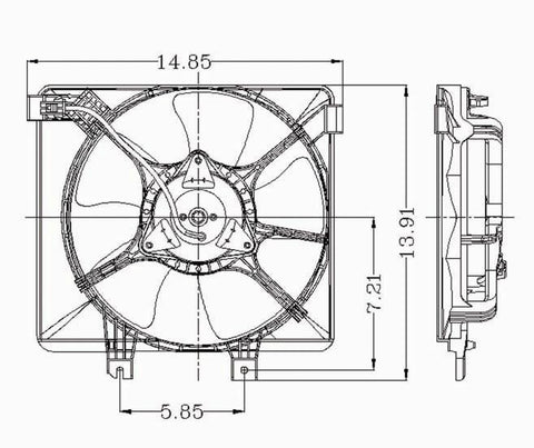 Mazda 93-95 Mazda 626 L4 (From 6/93)/Mazda Mx-6 Condenser Cooling Fan  Assembly (1) Pc Replacement 1993,1994, 1995