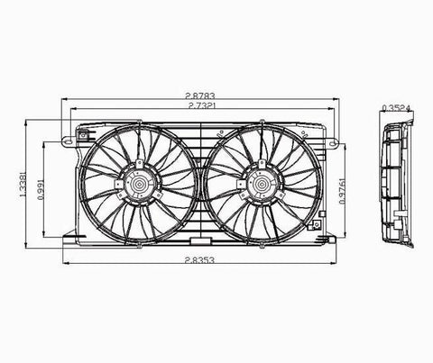 Cadillac 00-05 Cadillac Deville/01-03 Om Auroa 4.0L V8 Radiator & Condenser Cooling Fan Assembly (1) Pc Replacement 2000,2001,2002,2003,2004,2005