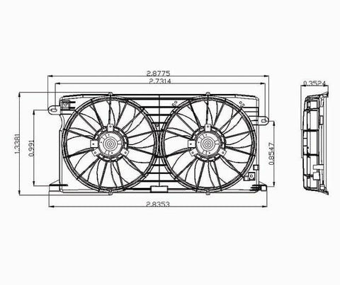 Cadillac 98-04 Cadillac Seville Radiator & Condenser Cooling Fan Assembly (1) Pc Replacement 1998,1999,2000,2001,2002,2003,2004