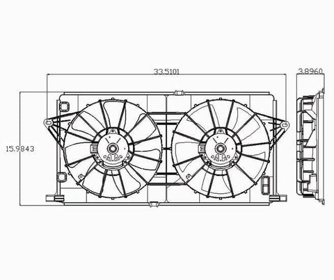 Buick 06-09 Buick Lucerne/ 06-08 Cadillac D.T.S/ Dts Radiator & Condenser Cooling Fan Assembly (1) Pc Replacement 2006,2007,2008,2009