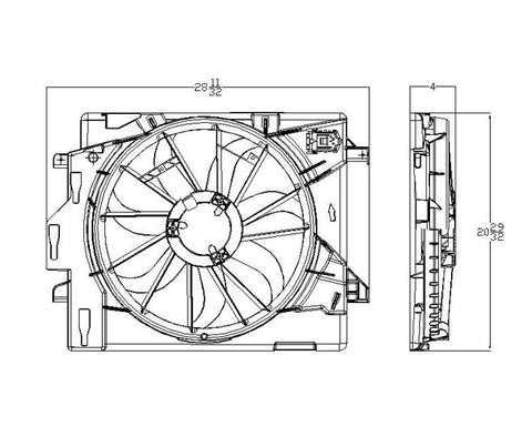 Dodge 08-09 Dodge Caravan/Chrysler Town & Country Radiator & Condenser Cooling Fan Assembly (1) Pc Replacement 2008,2009