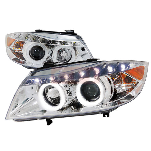 Bmw  05-08 Bmw  E90  Smd Led Iced Halo Projector Headlight Chrome Housing