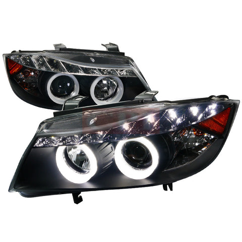 Bmw  05-08 Bmw  E90  Smd Led Iced Halo Projector Headlight Black Housing