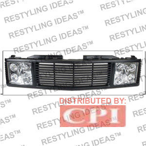 Gmc 1988-1998 Gmc C/K Pick Up Black Range Rover W/ Chrome Headlamp Abs Grille Performance