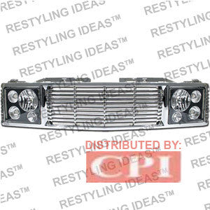Chevrolet 1988-1998 Chevrolet C/K Pick Up Chrome Range Rover W/ Black Headlamp Abs Grille Performance