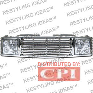 Chevrolet 1988-1998 Chevrolet C/K Pick Up Chrome Range Rover W/ Chrome Headlamp Abs Grille Performance