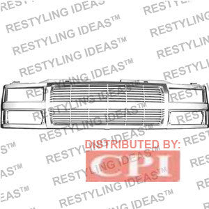 Chevrolet 1988-1998 Chevrolet C/K Pick Up Chrome Horizontal Bar Abs Grille Performance