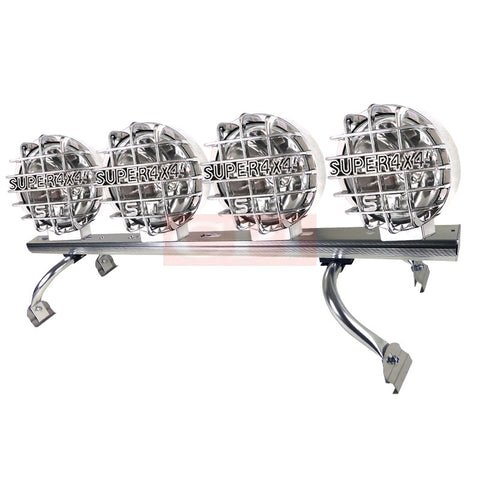 "All Universal All All 44"" To 60 "" Adjustable Light Roof Rack+ 6.5 Inches Round Work Lamp Chrome Mesh  X 2"