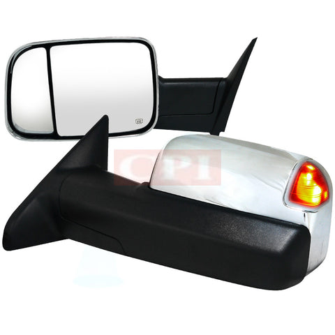 Dodge  10-12 Dodge  Ram  Heated Towing Mirrors Power Chrome