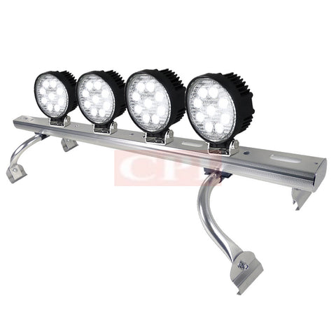 "All Universal All All 44"" To 60 "" Adjustable Light Roof Rack+ 9 Led Round Work Light X 4"
