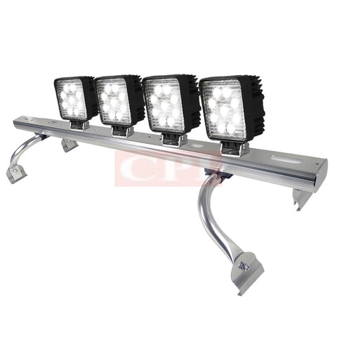 "All Universal All All 44"" To 60 "" Adjustable Light Roof Rack+ 9 Led Square Work Light X 4"