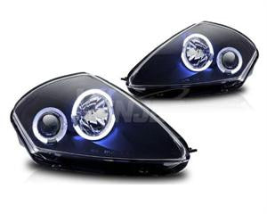 00-05 mitsubishi eclipse halo projector head light - black / clear performance