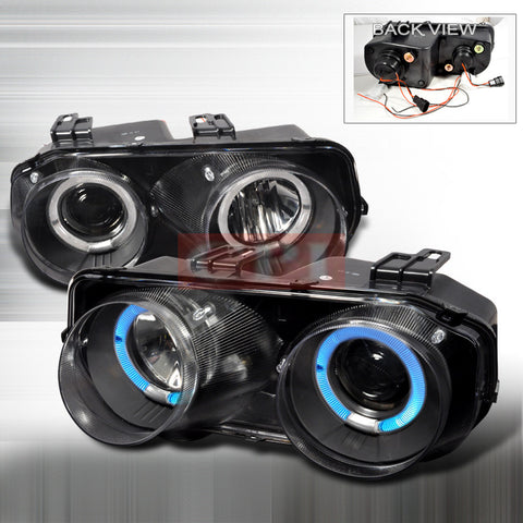 ACURA 94-97 ACURA INTEGRA - BLACK DUAL HALO PROJECTOR HEAD LIGHTS/ LAMPS -   1 SET RH & LH 1994,1995,1996,1997