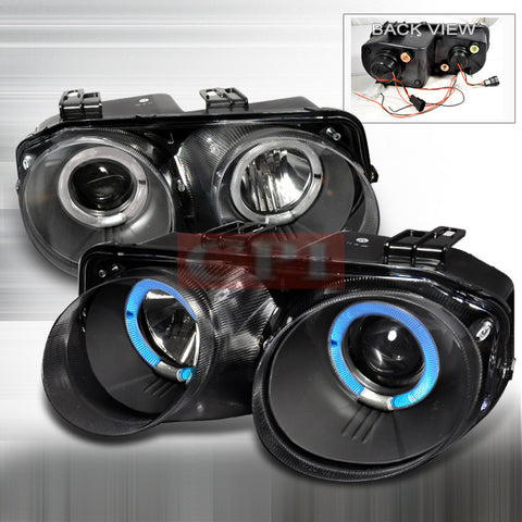 ACURA 98-01 ACURA INTEGRA - BLACK DUAL HALO PROJECTOR HEAD LIGHTS/ LAMPS -   1 SET RH & LH 1998,1999,2000,2001