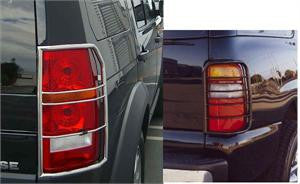 Cadillac Escalade 99-00 Cadillac Escalade Taillight / Tail Light / Lamp Guards - Black Light Covers Stainless Accessories   1 Set Rh & Lh 1999,2000