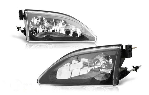 94-98 ford mustang cobra head light - black/clear performance