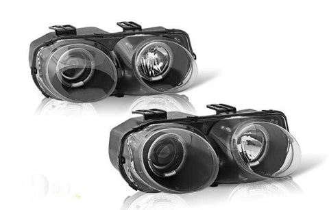 98-01 acura integra projector head light - black/clear performance