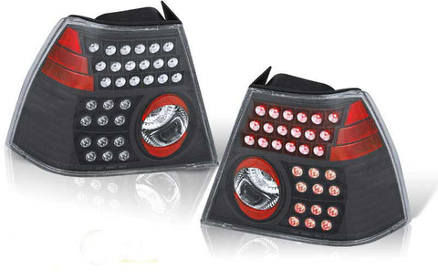 99-02 VOLKSWAGEN JETTA LED TAIL LIGHT - BLACK/CLEAR performance