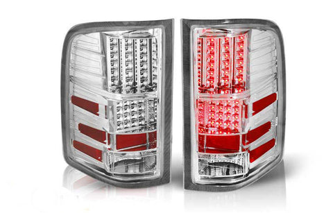 07-09 CHEVY SILVERADO LED TAIL LIGHT - CHROME / CLEAR performance