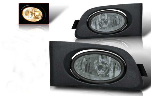 01-03 honda civic 2/4 dr oem style fog light - smoke (wiring kit included) performance