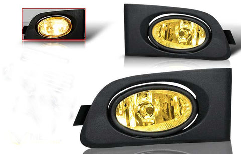01-03 honda civic 2/4 dr oem style fog light - yellow (wiring kit included) performance