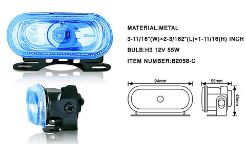 4 Inch Rectangular Universal Metal Fog Light - Blue *** Performance-e