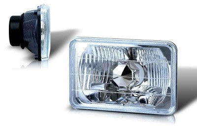 5 inch rectangular universal conversion head light w/ light bulb - clear performance