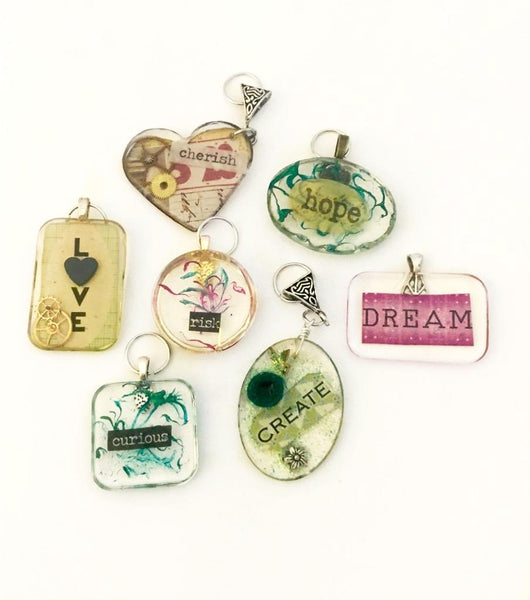 "(2) LARGE PENDANTS ""Words to Live By"" Project - 2 for $35"