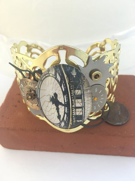 Gold Clock Cabochon Steampunk Bracelet - The Brass Caliper - 2
