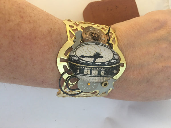 Gold Clock Cabochon Steampunk Bracelet - The Brass Caliper - 4