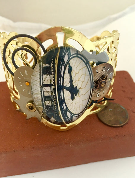 Gold Clock Cabochon Steampunk Bracelet - The Brass Caliper - 1