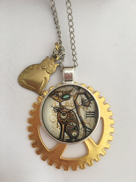 Steampunk Cat Silver / Gold Necklace / Pendant - The Brass Caliper - 2