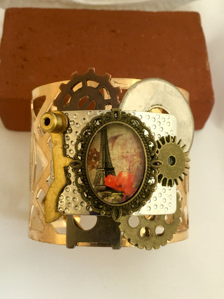 Steampunk Paris Gold Cuff Bracelet - Reimagined - The Brass Caliper - 1