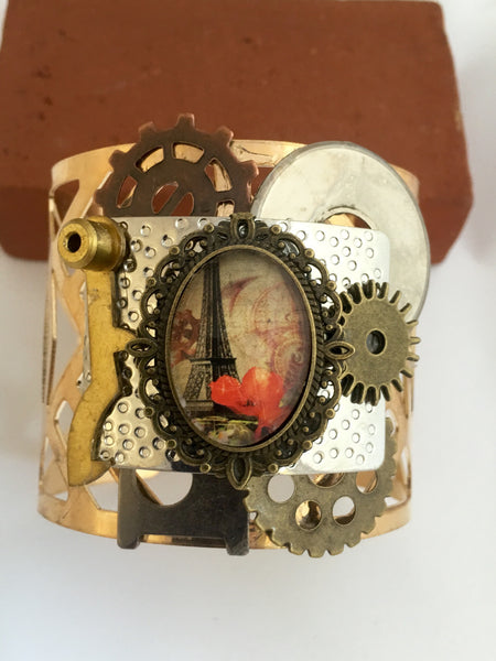Steampunk Paris Gold Cuff Bracelet - Reimagined - The Brass Caliper - 2