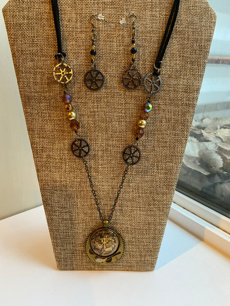 Lord of the Rings Inspired Steampunk Necklace Earrings Set