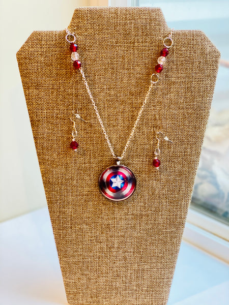 Captain America Inspired Necklace Set
