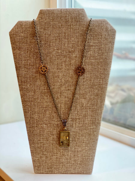 Steampunk Resin Long Bronze Necklace