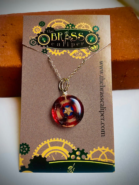 Captain America Inspired Resin Necklace