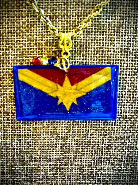 Captain Marvel Inspired Resin Pendant