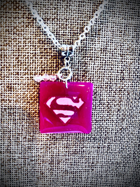 Supergirl Inspired Resin Pendant